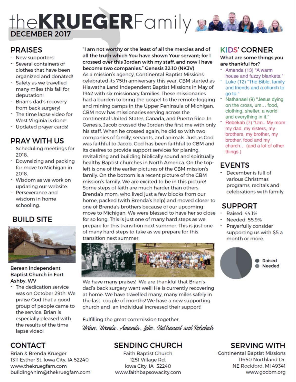 The Krueger Family's new newsletter layout