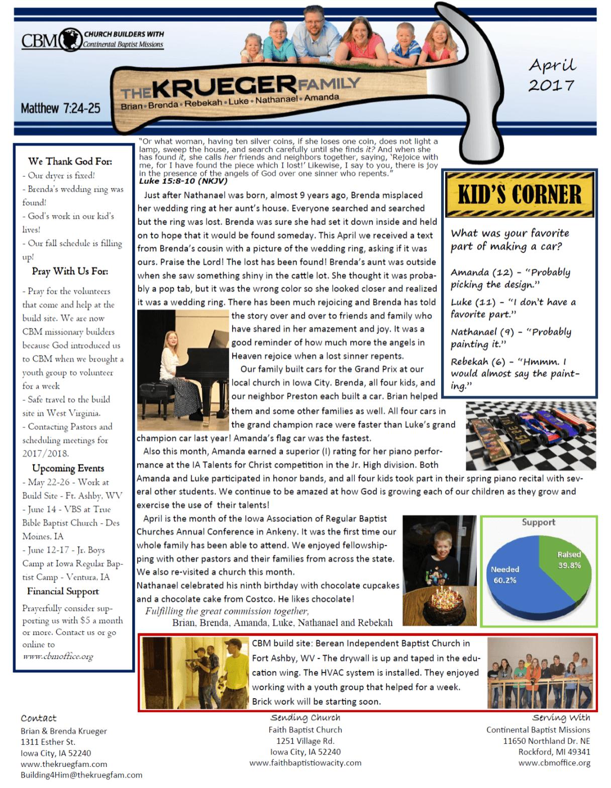 The Krueger Family's old newsletter layout