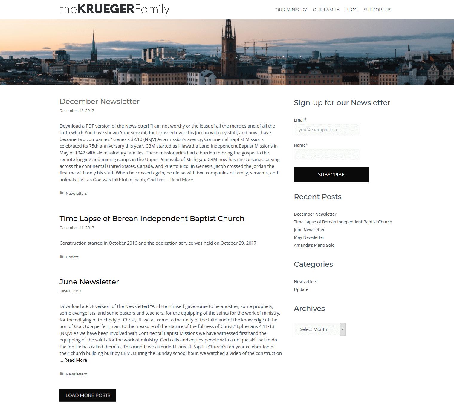 thekruegfam.com Blog page